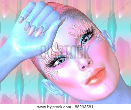 Pink abstract. Woman's face and head shot
