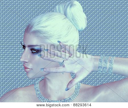 Blonde beauty against a diamond and silver abstract background.