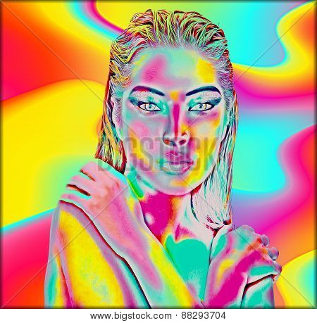 Abstract digital art image of a woman's face close up on a colorful background.