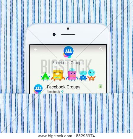 iPhone 6 displaying Facebook groups application