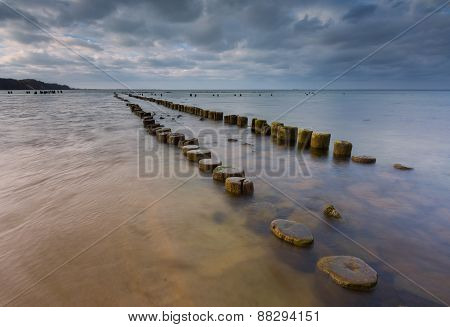 Sandy Shore Of Baltic Sea And Torpedownia Near Gdynia.