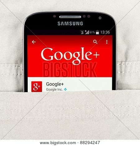 Google application on the Samsung galaxy display