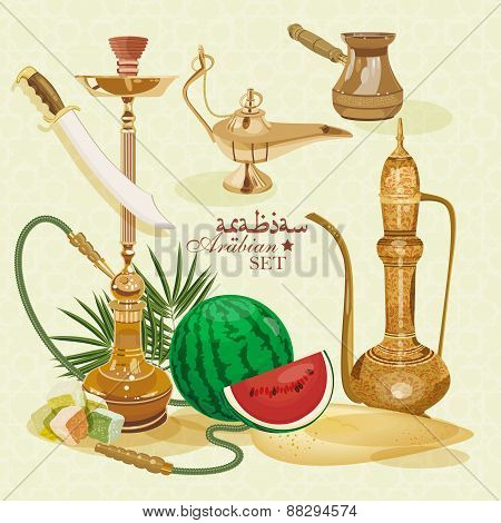 Eastern set of colorful items