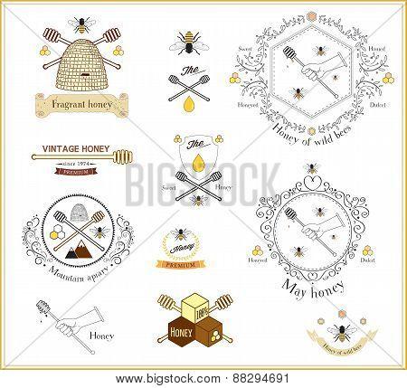 Set of vintage honey labels, logos and design elements