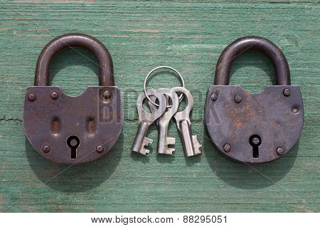 Two Old Rusty Padlock And Key