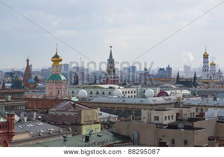 Panoramic view of the building from the roof of Moscow in cloudy weather during the day
