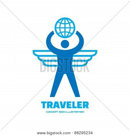 Traveler - human with wings and globe - vector logo concept illustration.