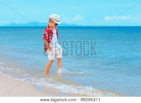 Fashionable Boy, Kid Playing In Waves On Summer Beach