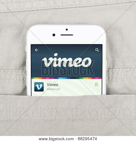 iPhone 6 displaying Vimeo application