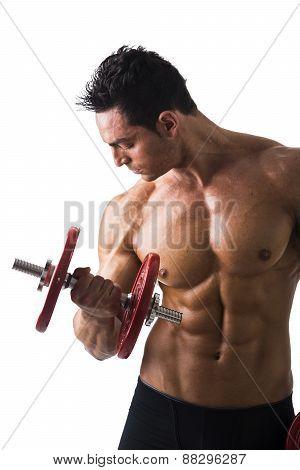 Muscular sexy shirtless young man exercising biceps