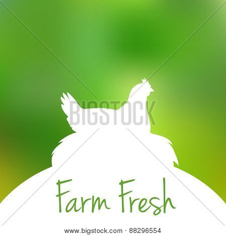 Silhouette of Hen in nest with text inside on blur background