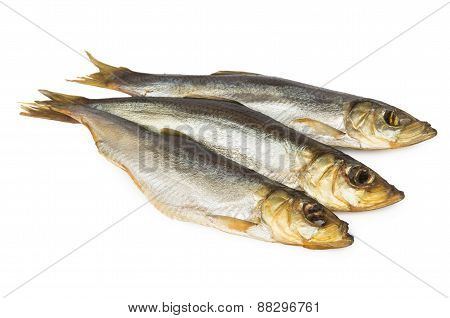 Three Smoked Herring On White