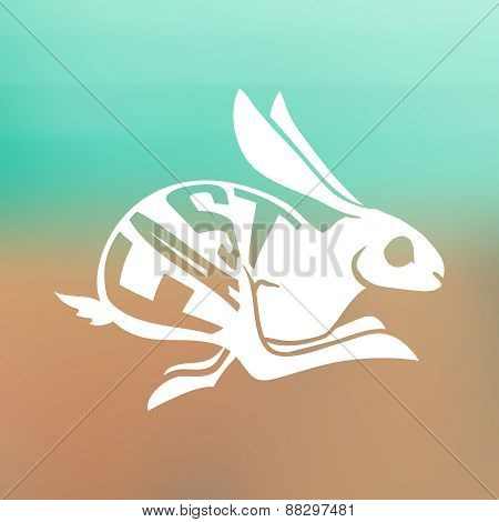 silhouette of Fast rabbit with text inside on blur background.
