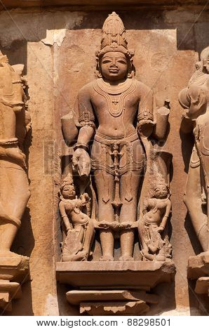 Stone Carved Sculptures Of Male Deity On Chitragupta Temple. Khajuraho