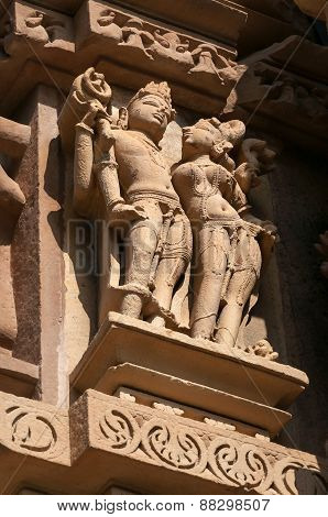 Stone Carved Erotic Sculptures On Chitragupta Temple. Khajuraho