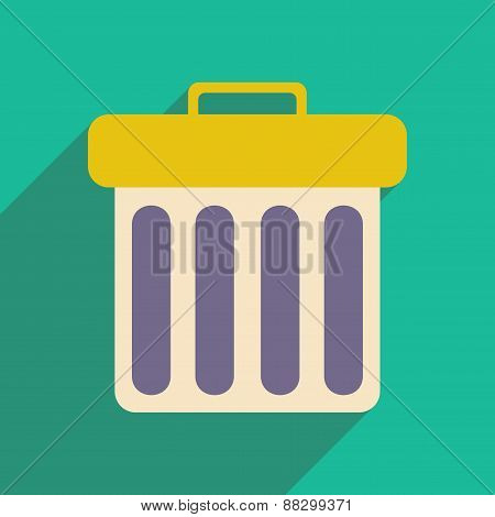Flat with shadow icon and mobile applacation waste basket
