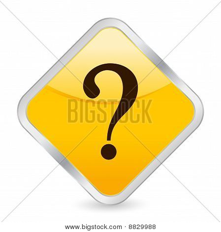Interrogative Mark Yellow Square Icon