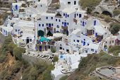 image of canopy roof  - The architecture of the village of Ia in Santorini Greece - JPG