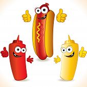 stock photo of hot dogs  - Illustration of Cartoon Hot dog with friends - JPG