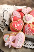 stock photo of trays  - Heart shaped cookies for valentines day on tray - JPG