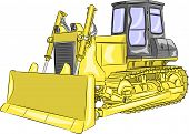 foto of bulldozers  - heavy yellow crawler bulldozer with bucket isolated on a white background - JPG