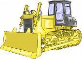 foto of bulldozer  - heavy yellow crawler bulldozer with bucket isolated on a white background - JPG