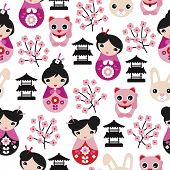 foto of kawaii  - Seamless adorable japanese geisha girls temple cats and cherry blossom illustration background pattern in vector - JPG