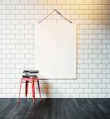 image of canvas  - Blank canvas hanging on the wall decorated with white tiles - JPG