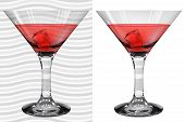 Постер, плакат: Transparent And Opaque Realistic Martini Glasses With Martini And Ice Cube