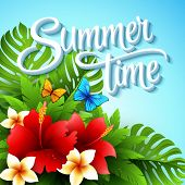 stock photo of tropical plants  - Vector illustration with tropical plants and flowers EPS 10 - JPG