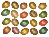 foto of priceless  - beautiful glossy painted Easter eggs are laid in rows on a white background - JPG