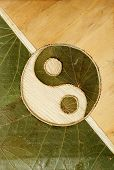 picture of ying yang  - traditional ying yang symbol in dried leaves - JPG