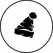 picture of pom-pom  - cuff beanie with pom pom symbol - JPG