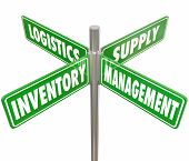 Постер, плакат: Inventory Management Logistics and Supply words on 4 green road or street signs pointing way to co
