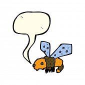 pic of bee cartoon  - cartoon bee with speech bubble - JPG