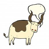 stock photo of oxen  - cartoon ox with speech bubble - JPG