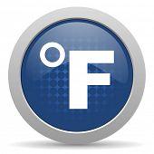 stock photo of fahrenheit thermometer  - fahrenheit blue glossy web icon  - JPG