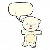 stock photo of bear cub  - cartoon shocked polar bear cub with speech bubble - JPG