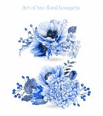 picture of hydrangea  - Illustration of blue poppies and hydrangeas - JPG
