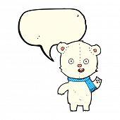 picture of bear cub  - cartoon waving polar bear cub with scarf with speech bubble - JPG