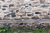picture of fortified wall  - Stone wall background with hard edges - JPG