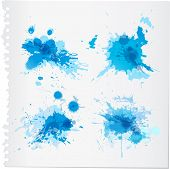 stock photo of ombres  - Four abstract blue watercolor paint splats set - JPG