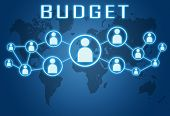 stock photo of budget  - Budget concept on blue background with world map and social icons - JPG