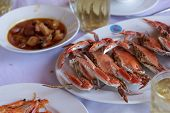 foto of cooked blue crab  - steamed crabs good taste for eating with rice - JPG