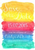 picture of ombre  - Vector illustration of save the date card on watercolor background - JPG