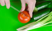 stock photo of green onion  - components for salad - JPG