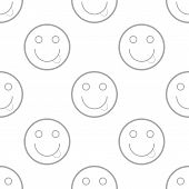 image of emoticon  - Smiling emoticons seamless pattern on a white - JPG