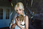 foto of meerkats  - Bride with meerkat in flat waiting her groom - JPG