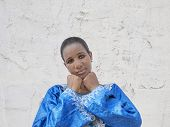 pic of traditional dress  - Afro beauty wearing a traditional dress in the street - JPG