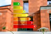stock photo of efficiencies  - Real ecological house in construction with energy efficiency rating - JPG